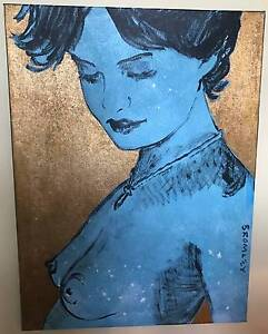 "DAVID BROMLEY nude ""CHARLOTTE"" Acrylic & Gold Leaf on Canvas Hobart CBD Hobart City Preview"