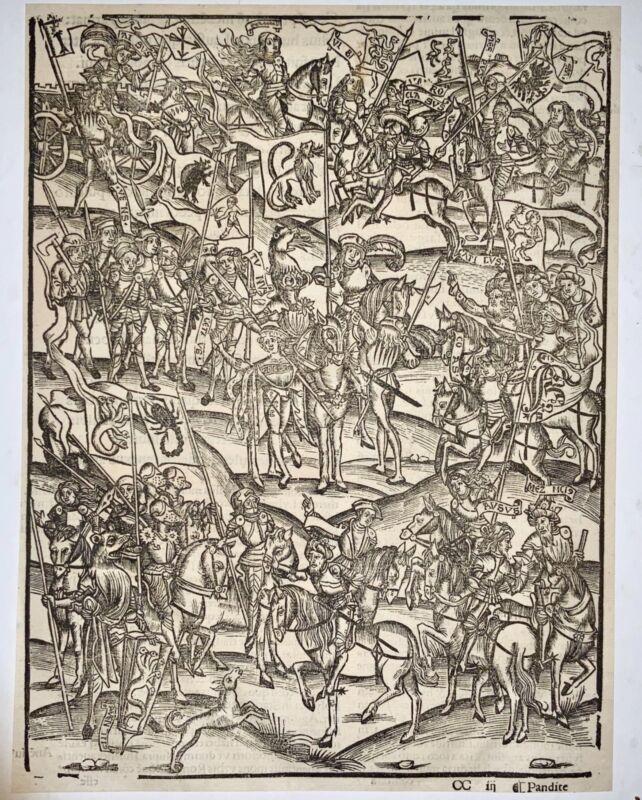1502 Grüninger INCUNABULA WOODCUT Virgil Aeneid: War in Latium