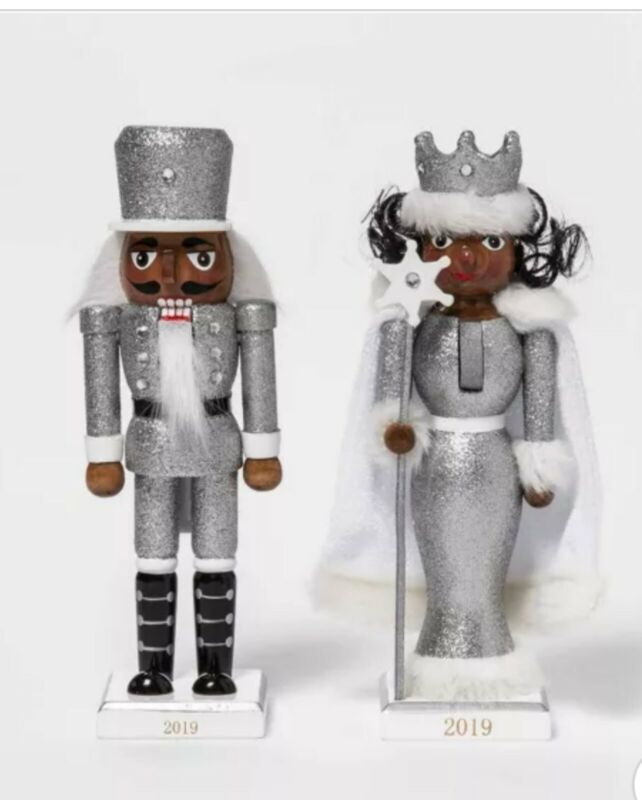 Set of 2 Silver African American Christmas Nutcracker snow Princess Ethnic Black