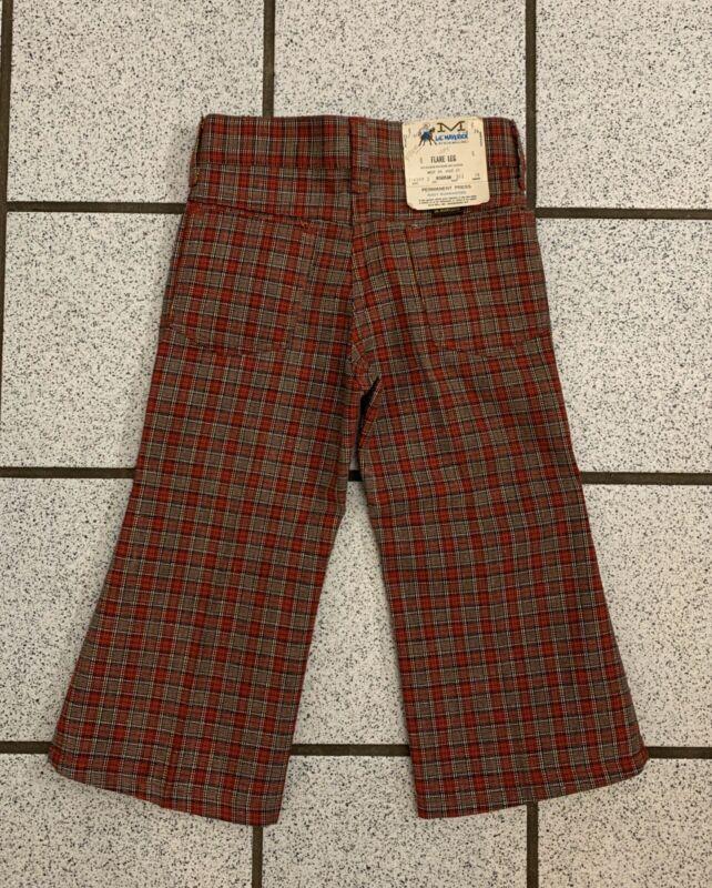 Vintage Boys Pants Hippie Bell Bottom Plaid Checks BLUE BELL 1970s Toddler Sz 3