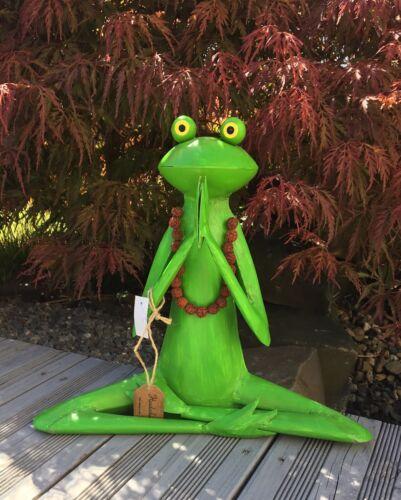 Frosch Yoga Handarbeit Metall Skulptur Gartendeko Gartenfigur Teich Pool Sonne