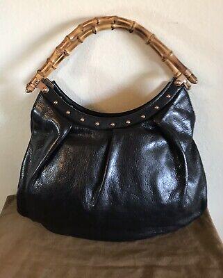 Gucci Black Leather Bamboo Stud Handbag Vintage Top Handle Tote Bag