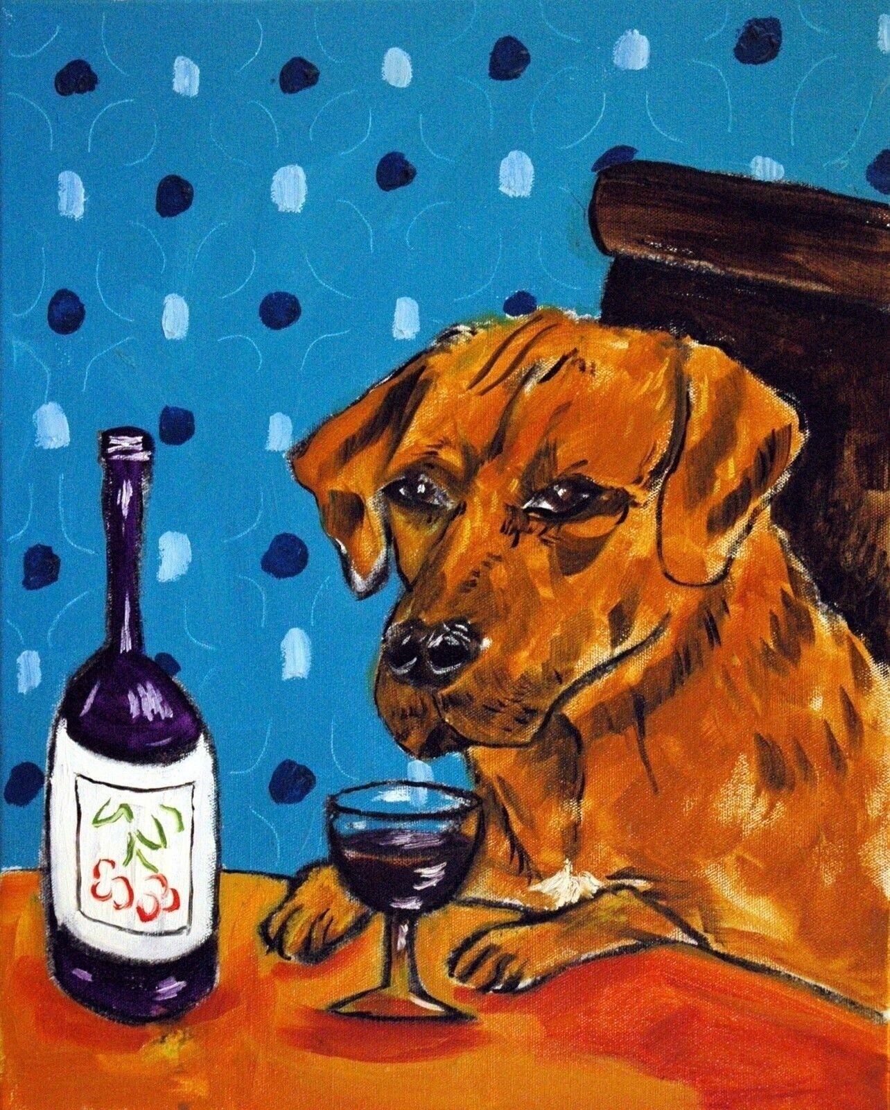 rhodesian ridgeback dog art wine 8.5x11  art PRINT  JSCHMETZ