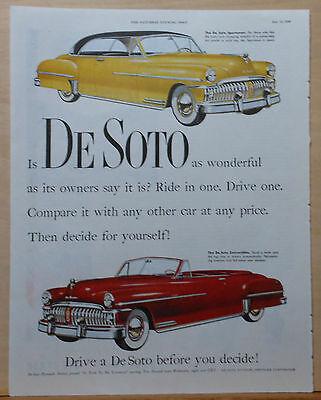 1950 magazine ad for DeSoto - yellow Sportsman, red Convertible, Compare it