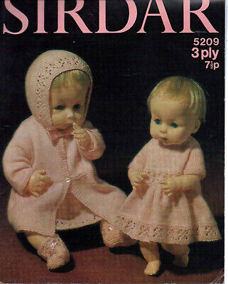 "Vintage Knitting Pattern - Dolls Clothes fits size 14""-20"" - Sirdar 5209 3 Ply"