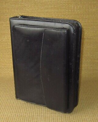 Classic Franklin Coveyquest Black Leather 1.5 Rings Zip Plannerbinder Purse
