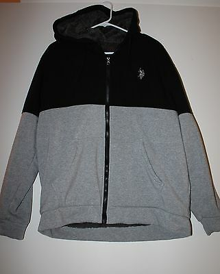 MEN'S U.S. POLO ASSN. HOODED FLEECE JACKET BLACK & GREY 2XL