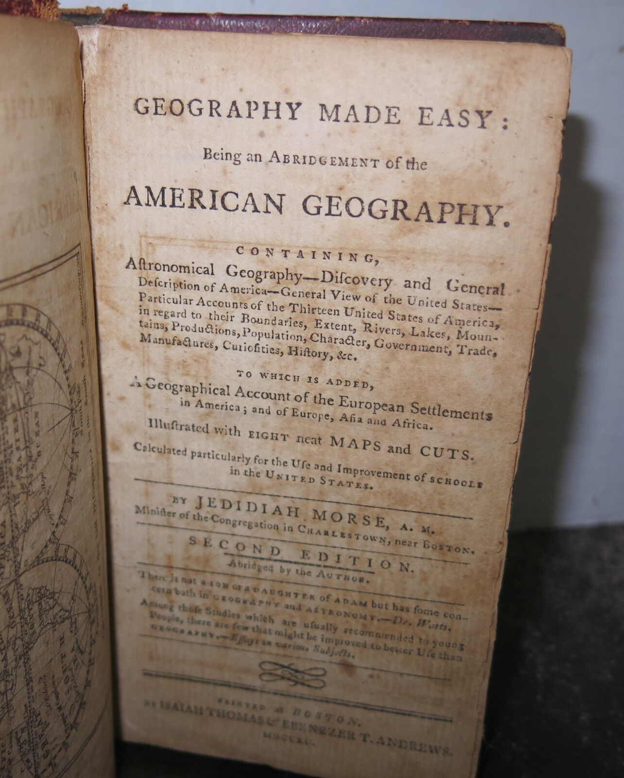 viaLibri ~ Geography Made Easy Printed Boston 1790 w 8 Maps