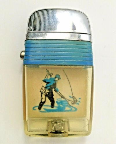 Scripto VU Vintage Lighter Fly Fisherman Netting the Big One