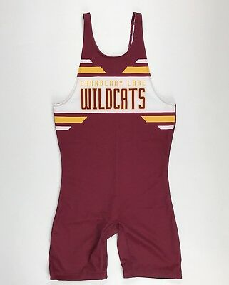 New Alleson Mens L Cranberry Lake Wildcats Wrestling Track Singlet Maroon Gold