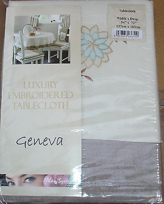 Geneva Beige/Duck egg 54 x72  Tablecloth Embroidered design
