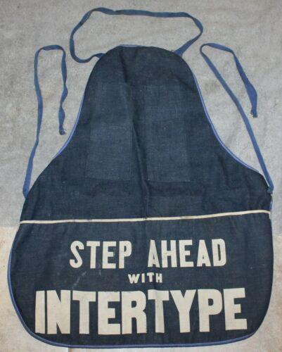 VINTAGE RARE STEP AHEAD WITH INTERTYPE ADVERTISING DENIM PRINTERS APRON