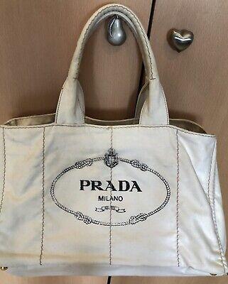 Authentic Prada White Canapa Canvas Tote Bag