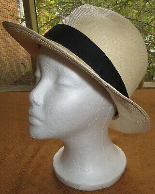 J Crew Panama Straw Hat Natural w Black Ribbon Band Fedora Ecuador Sm/Med Unisex