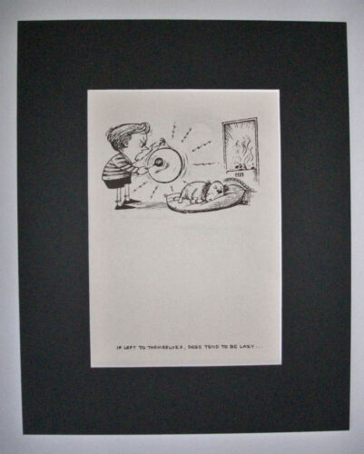 Dog Cartoon Print Norman Thelwell Dogs Can Be Lazy Bookplate 1964 8x10 Matted