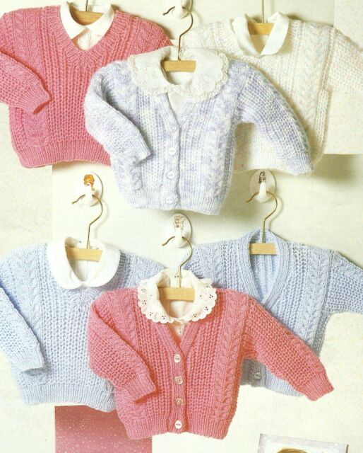 Baby Cardigan And Sweaters Knitting Patterns 16 24 Dk 173 Ebay