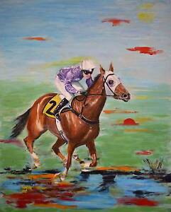 Wind Rider II - Horse Racing Painting by Sergio Ianniello Jindalee Brisbane South West Preview