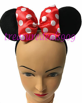 Minnie Mouse Ears Headband Puffy Red Polka Dot Bow Mickey Birthday Party Favors](Red Polka Dot Minnie Mouse Party Supplies)