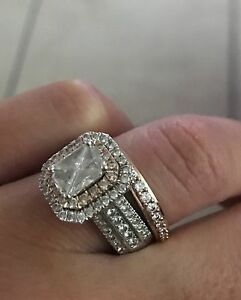 14k white gold 1.8ct diamond halo cut wedding ring plus band Roselands Canterbury Area Preview