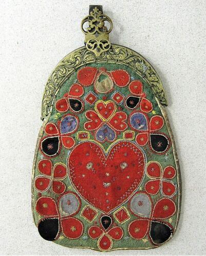 Antique Swedish Kjolsack Waist Pocket Purse Folk Art Hand Made Early 19th C.