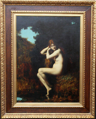 JEAN JACQUES HENNER  FRENCH PORTRAIT NUDE WOMAN OIL PAINTING ART 1829-1905