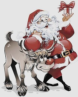 """2 Christmas Santa with Rudolph 3-3/4"""" X 3"""" Waterslide Ceramic Decals Bx"""