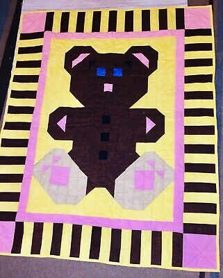 Patchwork Crib Quilt, Quilted Teddy Bear Handmade Finished Toddler Baby Girl Boy