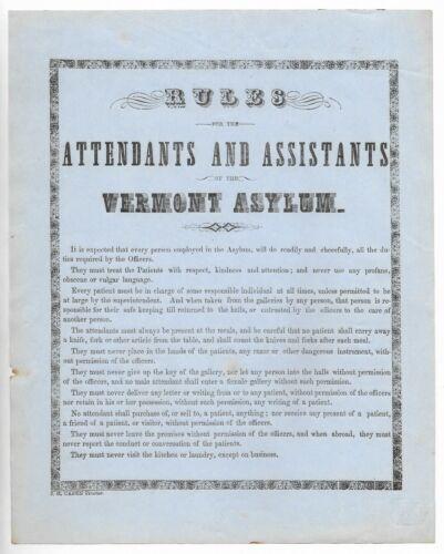 Antique VERMONT INSANE ASYLUM Rules for Attendants ORIGINAL BROADSIDE SIGN c1860
