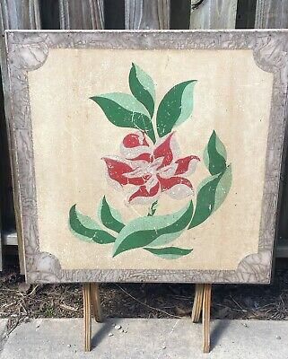 Vintage Antique Wooden Wood Folding Card Table Floral Flowers- Shabby (Antique Folding Table)