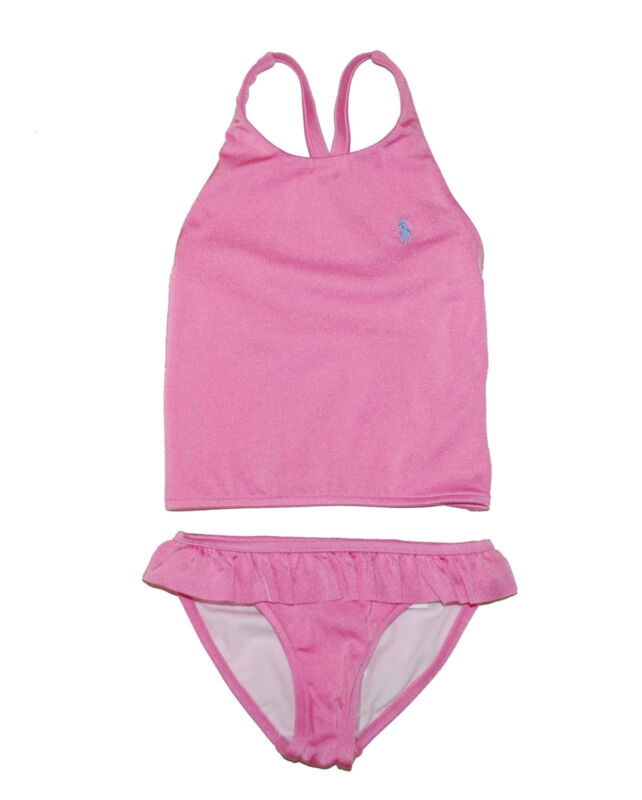 NWT$55 Authentic Ralph Lauren Two Piece Pink Ruffle Tankini Swimsuit (Size 2T)