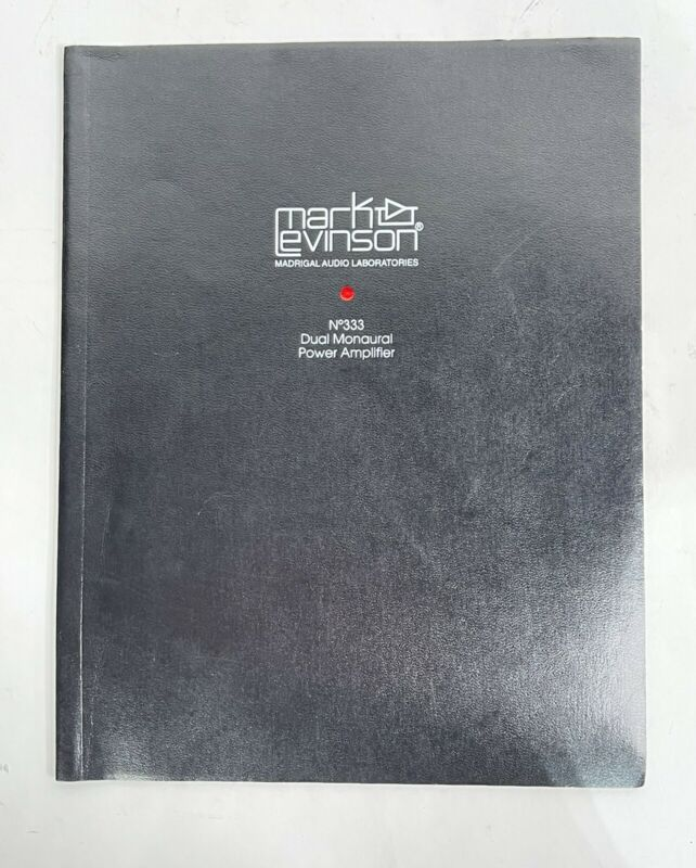 Mark Levinson No. 333 Power Amplifier Owners Manual Instructions Original Amp