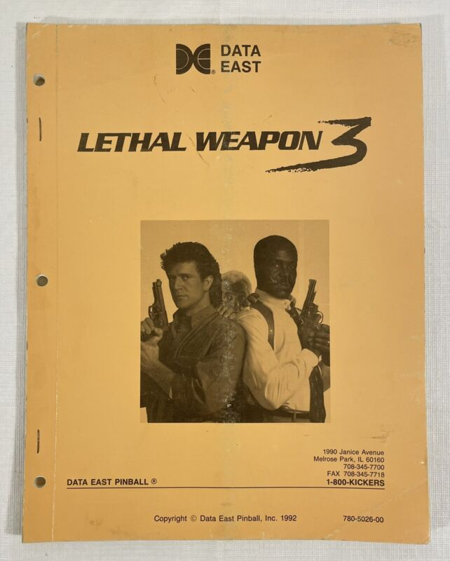 Data East Lethal Weapon 3 Pinball Manual 1992