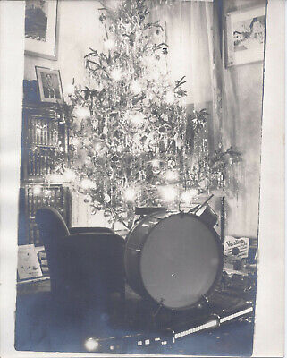 1930s CABINET PHOTO NIGHT VIEW CHRISTMAS TREE DRUM SET TOY TRAIN & GIFTS