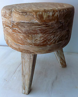 Pouf Stool teak solid wood pickled finish white cm 45hx38 seat chair