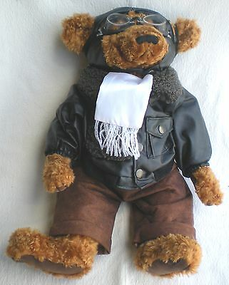 Teddy Bear Pilot w/Bomber Jacket & Goggles - Fine Toy Co. LTD - VERY NICE