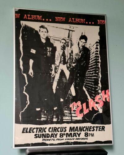the clash original manchester electric circus 1977 poster sex pistols punk rare