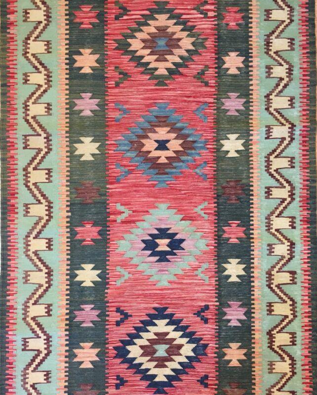 Fantastic Flatweave - New Kilim Rug - Colorful Tribal Runner - 3.8 X 19.6 Ft.