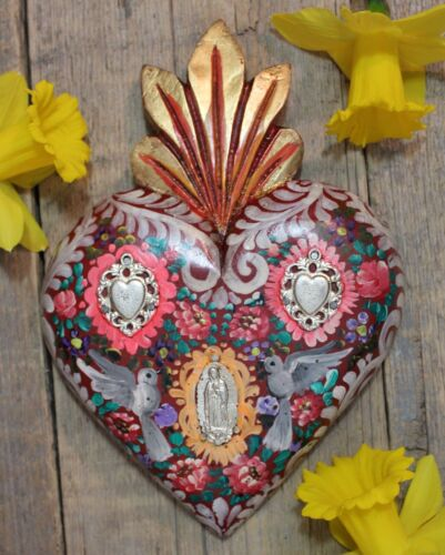 Hand Painted Heart Doves & Guadalupe Milagros Wood Mexican Folk Art Michoacan