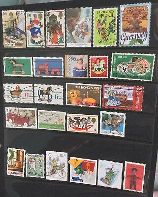 Children's toys and playthings on stamps, card not included