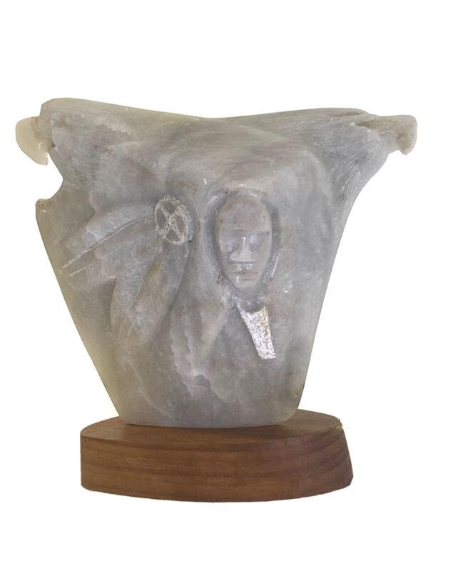 Vintage Native American Carved Alabaster Stone Sculpture - WAR PARTY - Greg P.