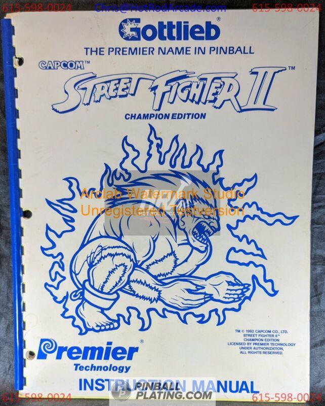 Street Fighter II - Gottlieb - Pinball Manual - Schematics - Instructions - Book