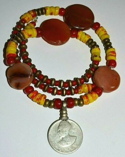 Antique Haile Selassie Silver Coin Amulet Necklace W Antique African Trade Beads