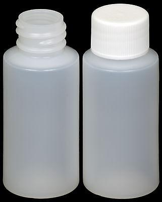 Plastic Bottle (HDPE) w/White Lid, 1-oz. 45-Pack, New