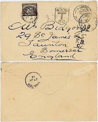GB 1914 POSTAGE DUE 2d  from AUSTRALIA ..TAUNTON