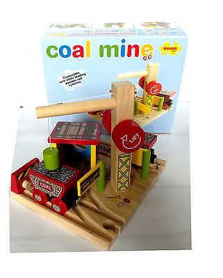 Holzeisenbahn Kohlelager + 2 Waggons BigJigs Rail Coal Mine Holzbahn OVP!