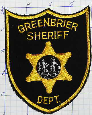 """WEST VIRGINIA, GREENBRIER COUNTY SHERIFF BLACK & GOLD 4.75"""" PATCH"""