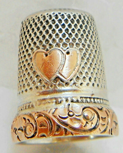 ANTIQUE SILVER AND GOLDEN TWO HEARTS UNITED QUALITY THIMBLE