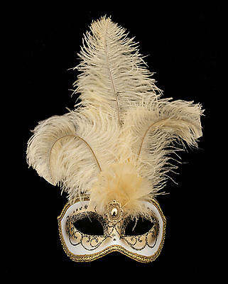 Mask from Venice Colombine in Feathers Ostrich Beige-Mask Venetian - 1350 V78