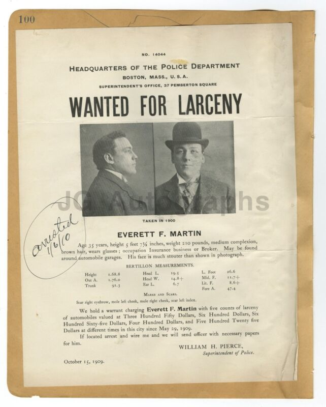 Wanted Posters - 3 Vintage Wanted Notices - Massachusetts, New York - 1909