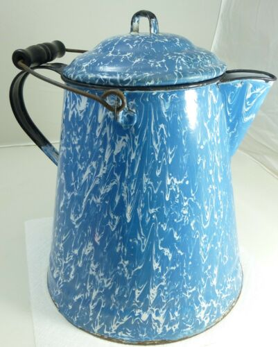 Antique Graniteware Blue & White Swirl Coffee Pot Boiler Wire Bail Handle Nice!
